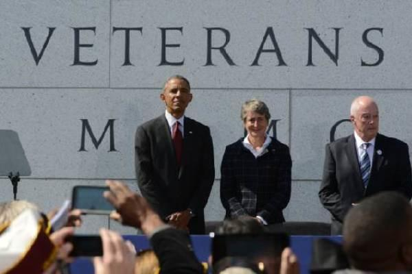 President Barack Obama attended the dedication ceremony for the American Veterans Disabled for Life Memorial in Washington Oct. 5, 2014. (AP Photo/Molly Riley)
