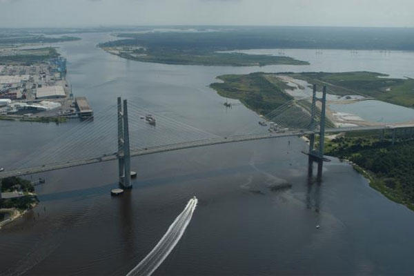 Jacksonville Harbor is one of the many harbors maintained by Jacksonville District. Pictured is the commercial channel near the Dames Point Bridge on Florida State Road 9A. (U.S. Army photo)