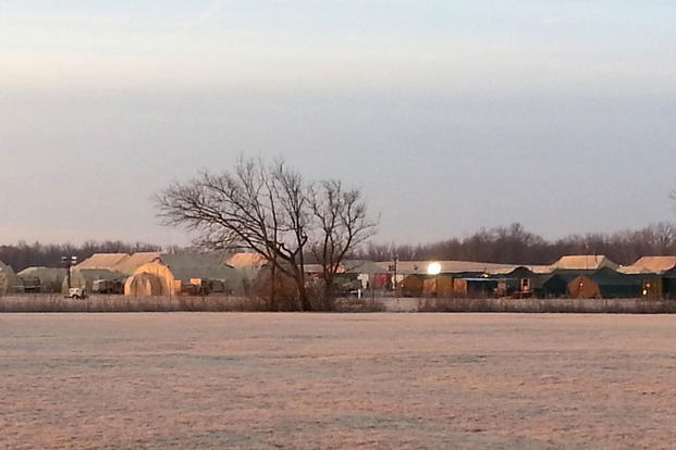 An early morning look at the Warfighter Compound setup at Camp Atterbury, Ind., Jan. 31, 2015. (Indiana National Guard/Staff Sgt. William Henry)