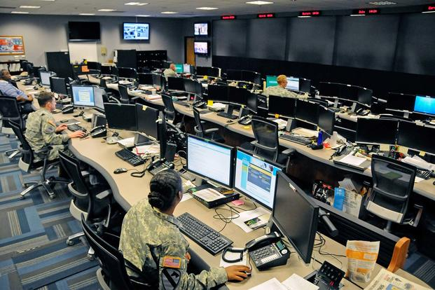 The Cyber Operations Center on Fort Gordon, Ga., is home to signal and military intelligence non-commissioned officers who watch for and respond to network attacks. (Photo Credit: Michael L. Lewis)
