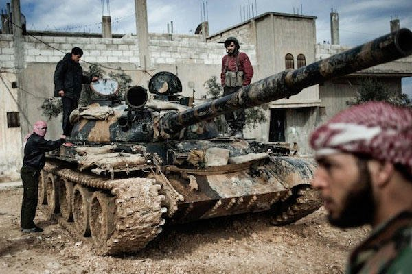 Syrian rebels with tank.