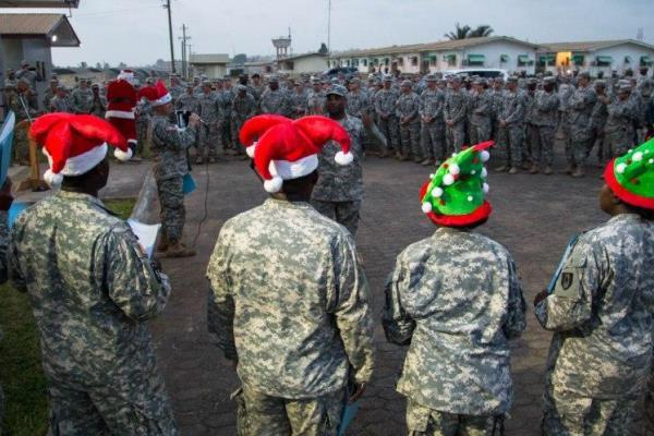 Soldiers gather in Liberia ahead of the Christmas holiday. (U.S. Army photo)