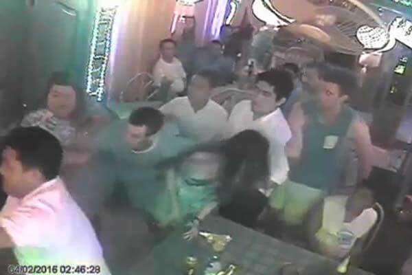 Image from a video that captures American troops engaged in a bar brawl with Filipino policemen (Screengrab: YouTube video)