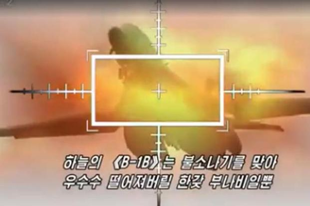 North Korea 'destroys' a B1-B Lancer in fake propaganda video. (Screengrab from Uriminzokkiri TV video)