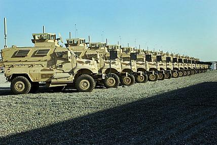 Mine-Resistant Ambush Protected vehicles at Camp Liberty in Baghdad in 2007