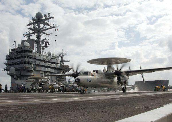 An E-2 Hawkeye prepares to launch aboard CVN 73.