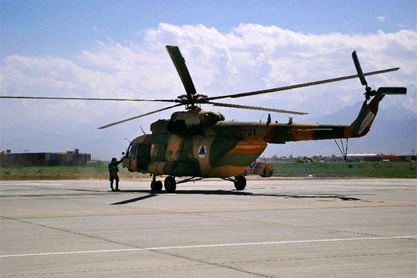 An Mi-17 helicopter used by the Afghan Air Force sits on Bagram Air Field in Afghanistan.