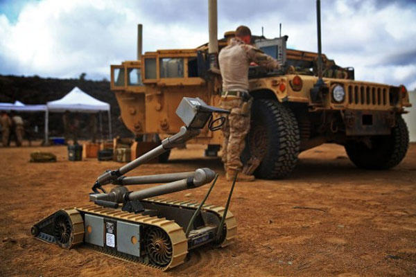 A PackBot is shown ready for use in Djibouti.(U.S. Army photo/Sgt. Jennifer Pirante)