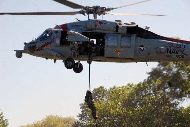 Sailors attached to Helicopter Sea Combat Squadron 9 rappel during an aviation demonstration at Eisenhower Park in Long Island, New York in support of Fleet Week New York 2015. (U.S. Navy photo by Mass Communication Specialist 1st Class David Wyscaver)