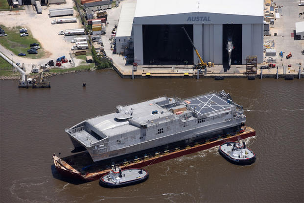 The future joint high speed vessel USNS Brunswick (JHSV 6) was launched from the Austal USA shipyard, May 18, 2015. (U.S. Navy photo/Released)