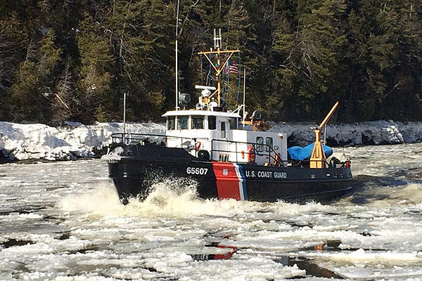 The Coast Guard Cutter Bridle breaks ice on the Penobscot River in Maine March 17, 2015. Operation renewable energy for Northeast Winters. (U.S. Coast Guard/CPO Marc Moore)