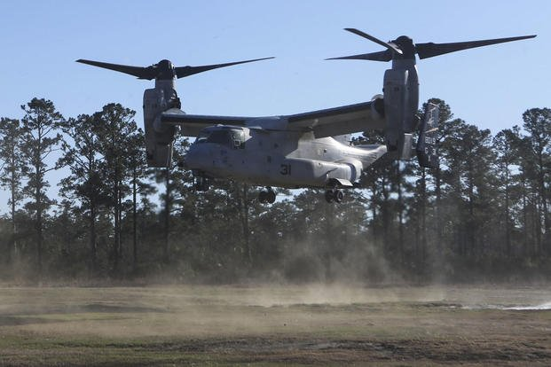 1st Lt. Erik Erlandson lands an MV-22B Osprey during a check ride course requirement with Marine Medium Tiltrotor Training Squadron 204 at Marine Corps Air Station New River, N.C. Jan. 12, 2016. (Photo: Cpl. Michelle Reif)