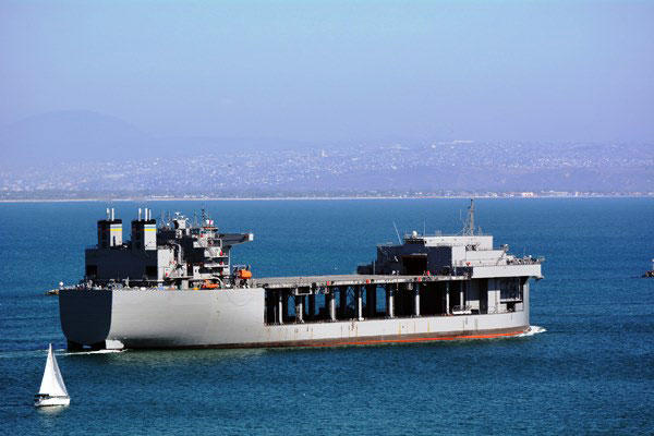The Military Sealift Command ship USNS Lewis B. Puller (MLP 3) departs San Diego for its new home on the East Coast Aug. 12, 2015. (U.S. Navy photo)