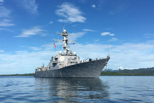 The guided-missile destroyer USS William P. Lawrence (DDG 110) transits Suva Harbor as the ship pulls into Suva, Fiji for a scheduled port visit. (Photo: Lt. j.g. Janie Baird)