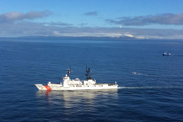 A Coast Guard Cutter Munro boarding team is sent to conduct a vessel safety inspection in the Bering Sea, Feb. 15, 2016. (U.S. Coast Guard photo)