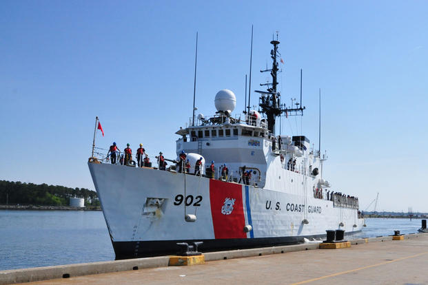 The Coast Guard Cutter Tampa moors to the pier at Base Portsmouth, Virginia, April 27, 2016. (Photo: Petty Officer 1st Class Melissa Leake)
