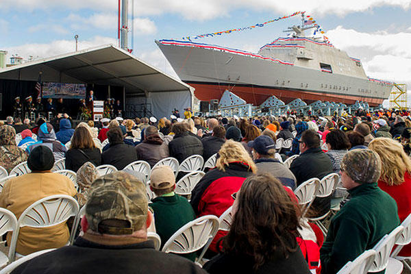 Ray Mabus delivers remarks during the christening ceremony for the littoral combat ship Pre-Commissioning Unit Detroit (LCS 7) at Marinette Marine Corp. shipyard, Oct. 18 , 2014. (U.S. Navy photo/Chief Mass Communication Specialist Sam Shavers)