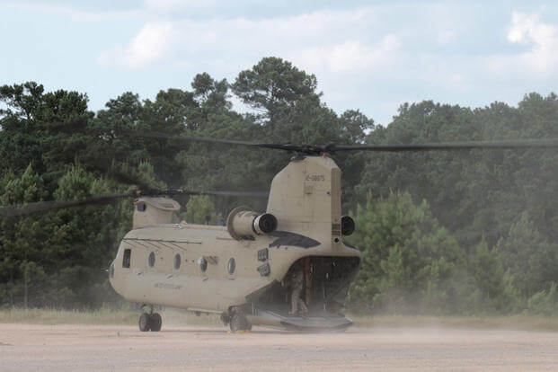 "A CH-47 ""Chinook"" from the Maryland National Guard's B Co, 3rd Battalion, 126th Aviation, prepares for takeoff at the Army's Joint Readiness Training Center, Fort Polk, Louisiana, Wednesday, July 13, 2016. (U.S. Army/Sgt. Michael Davis)"