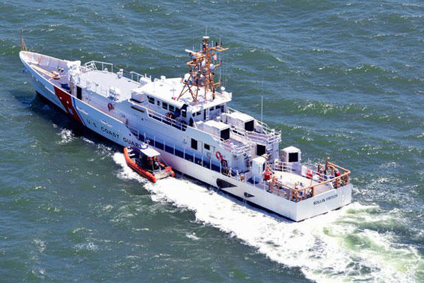 Coast Guard Cutter Rollin Fritch steams through the Gulf of Mexico in July, 2016. (U.S. Coast Guard Photo by Patrick Quigley, Gulf Coast Air Photo)