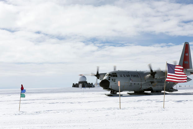 "An LC-130 ""Skibird"" from the New York Air National Guard's 109th Airlift Wing in Scotia, New York, lands at Camp Raven, Greenland, on June 28, 2016. (U.S. Air National Guard photo/Staff Sgt. Benjamin German)"