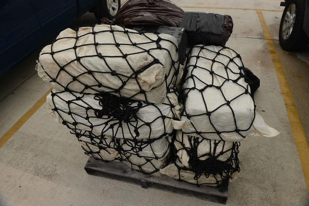 A view of 350 kilograms of seized cocaine offloaded from the Coast Guard Cutter Richard Etheridge (WPC-1102) at Coast Guard Base Miami Beach in Miami, Florida, on Nov. 7, 2016. (U.S. Coast Guard photo)