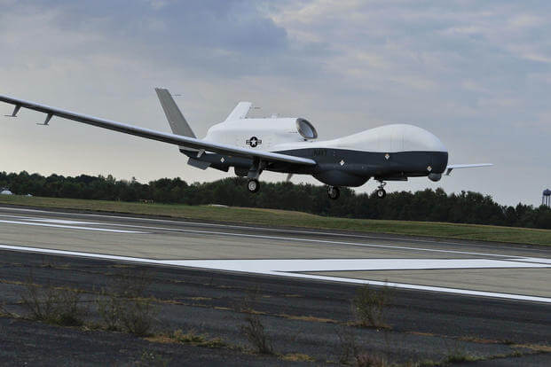 A U.S. Navy MQ-4C Triton unmanned aircraft system prepares to land at Naval Air Station Patuxent River, Md., Sept. 18, 2014, after completing a cross-country flight from California. (U.S. Navy photo/Kelly Schindler)