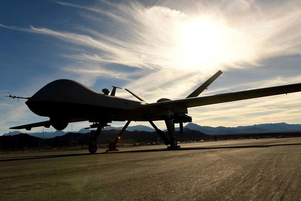 An MQ-9 Reaper sits on the flight line Nov. 22, 2016, at Creech Air Force Base, Nev. (U.S. Air Force/Senior Airman Christian Clausen)