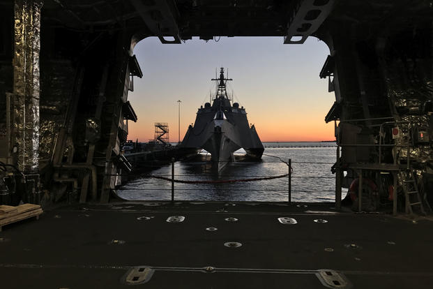 USS Jackson (LCS 6) is pierside during sunset, March 3, 2017. (U.S. Navy photo/Lt. Miranda V. Williams)