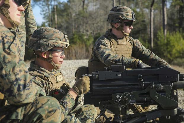 A Marine with Task Force Southwest fires an Mk 19 grenade launcher during a combined arms range at Camp Lejeune, N.C., Jan. 18, 2016. (U.S. Marine Corps/Sgt. Lucas Hopkins)