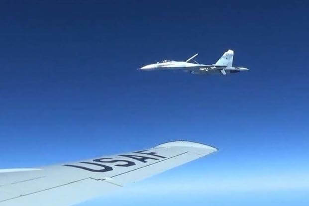 A U.S. RC-135U flying in international airspace over the Baltic Sea was intercepted by a Russian SU-27 Flanker June 19, 2017. (Courtesy photo/Released)