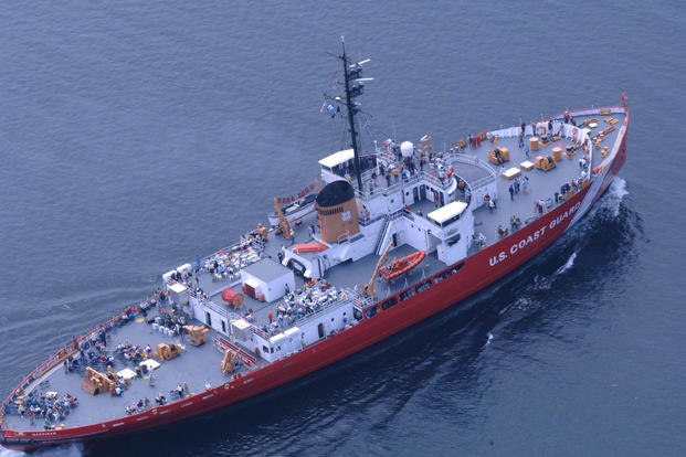 The Coast Guard Cutter Mackinaw (WAGB-83) sailed for a final voyage from her home port of decommissioning, Cheboygan, MI to a permanent berth at the SS Chief Wawatam dock in Mackinaw City, June 21, 2006. (U.S. Coast Guard photo)