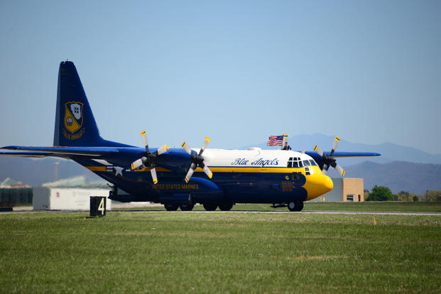 "The U.S. Navy Blue Angels ""Fat Albert"" C-130 Hercules lands after a successful demonstration at the Smoky Mountain Air Show at McGhee Tyson ANG Base, TN, April 16, 2016. (U.S. Air National Guard photo/Master Sgt. Kendra M. Owenby)"