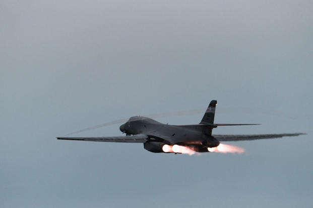 A U.S. Air Force B-1B Lancer assigned to the 37th Expeditionary Bomb Squadron, deployed from Ellsworth Air Force Base, take off from Andersen AFB in the vicinity of the Sea of Japan, East Sea, Oct. 10, 2017. (U.S. Air Force/Senior Airman Jacob Skovo)