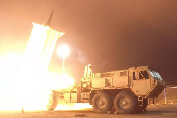 A Terminal High Altitude Area Defense (THAAD) interceptor is launched from the Pacific Spaceport Complex Alaska in Kodiak, Alaska, during Flight Experiment THAAD (FET)-01 on July 30, 2017. (Missile Defense Agency/ Leah Garton)