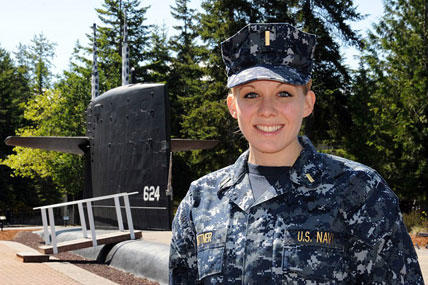 Lt. j.g. Megan Bittner was photographed in May as an ensign at Naval Base Kitsap-Bangor. Photo by Lt. Ed Early/Nav