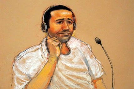 Abd al-Rahim al-Nashiri is seen during his military commissions arraignment at the Guantanamo Bay detention center in Guantanamo, Cuba.