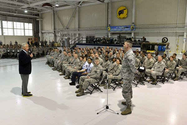 Defense Secretary Chuck Hagel takes a question after delivering remarks to several hundred airmen on Langley Air Force Base in Hampton, Va.. He also addressed troops at Fort Eustis. (DoD photo by Glenn Fawcett)