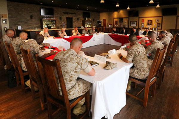 Marines and sailors meet with representatives of the Defense Department Military Compensation and Retirement Modernization Commission aboard Camp Pendleton, Calif. (Photo by Lance Cpl. Caitlin Bevel)