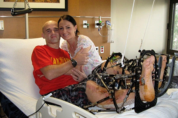 "Marine Cpl. Miroslav ""Mike"" Kazimir and his wife Marcela credit a strong military medical system and a devotion to each other with helping them after Kazimir was severely wounded in Afghanistan. Donna Miles/DoD photo"