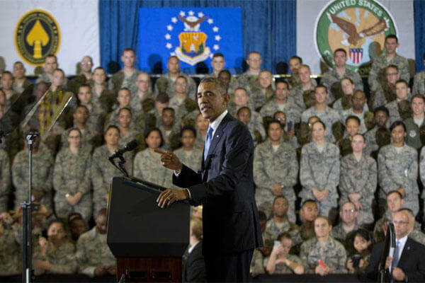 President Barack Obama speaks at US Central Command at MacDill Air Force Base, Fla., Wednesday, Sept. 17, 2014. (AP Photo/Pablo Martinez Monsivais)