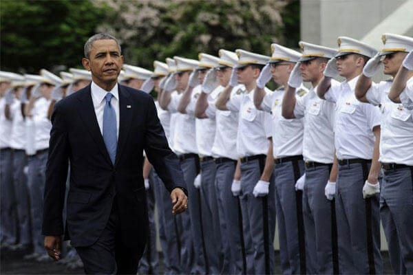 President Obama arrives to deliver the commencement address to the U.S. Military Academy at West Point's Class of 2014, Wednesday, May 28, 2014, in West Point, N.Y. (AP Photo/Susan Walsh)