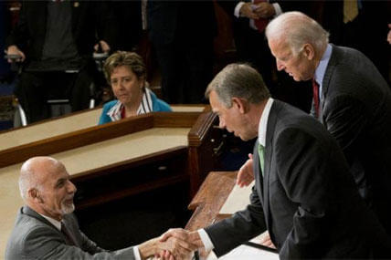 Afghanistan's President Ashraf Ghani shakes hands with House Speaker John Boehner of Ohio, and Vice President Joe Biden, Wednesday, March 25, 2015. (AP Photo/Pablo Martinez Monsivais)