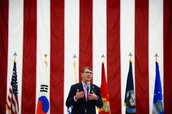 U.S. Defense Secretary Ash Carter speaks to service members during a troop event on Osan Air Base in South Korea, April 9, 2015. Carter. (DoD photo by U.S. Navy Petty Officer 2nd Class Sean Hurt)