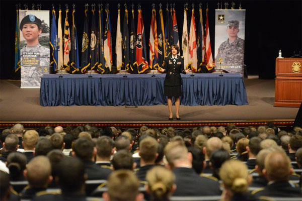 Col. Deydre Teyhen, lead for the Performance Triad program, Army Office of the Surgeon General, speaks to 300 ROTC and U.S. Military Academy at West Point, N.Y., cadets on Fort Leavenworth, Kan., March 31, 2015. (U.S. Army photo)