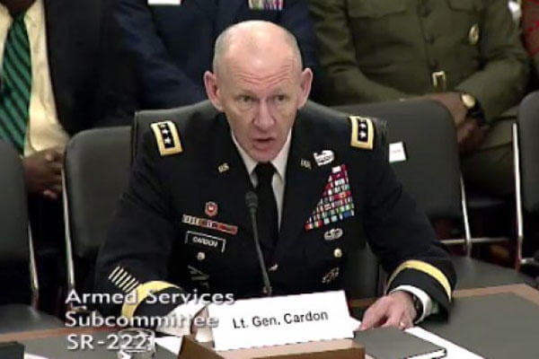 "Cardon, commander of U.S. Army Cyber Command, testified on a panel during a Senate Armed Services subcommittee on emerging threats and capabilities, ""Military Cyber Programs and Posture,"" hearing, April 14, 2015. (Screen capture)"