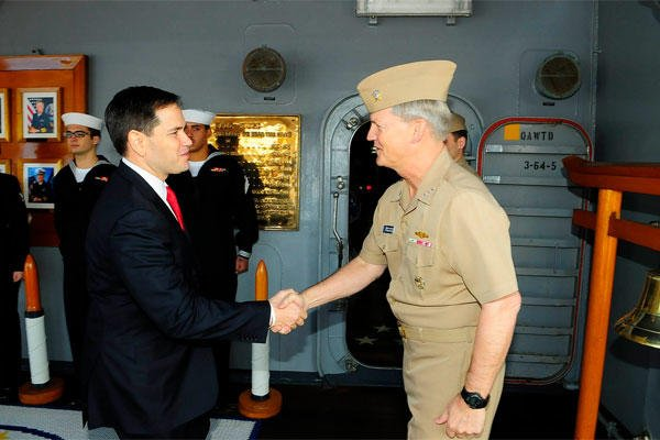 U.S. Sen. Marco Rubio is greeted by Vice Adm. Robert L. Thomas Jr., commander of U.S. 7th Fleet, on the quarterdeck of the flagship USS Blue Ridge, Jan. 21. (U.S. Navy photo by Mass Communication Specialist 1st Class Joshua Karsten)