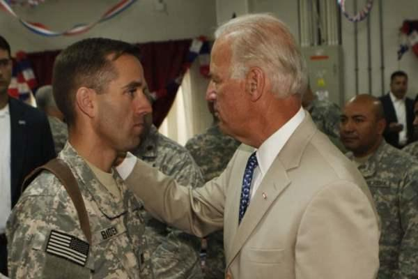 Vice President Joe Biden meeting with is son, U.S. Army Capt. Beau Biden, who was serving in Iraq in 2009. AP