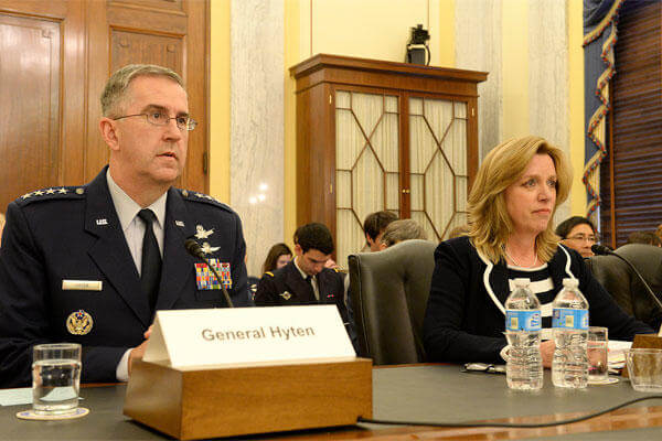 Secretary of the Air Force Deborah Lee James and Gen. John E. Hyten, commander of Air Force Space Command, testify before the Senate Armed Services Committee, Subcommittee on Strategic Forces, April 29, 2015. (U.S. Air Force photo/Scott M. Ash)