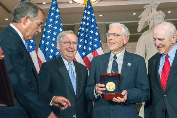 Retired Air Force Lt. Gen. Charles Cleveland receives the Congressional Gold Medal on Wednesday, May 20, 2015, during a ceremony on Capitol Hill in Washington, D.C. (CARLOS BONGIOANNI/STARS AND STRIPES)