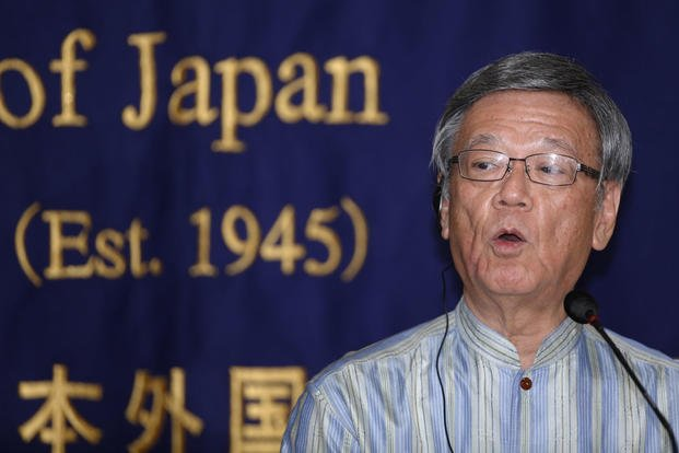 Okinawa Gov. Takeshi Onaga speaks during a press conference at the Foreign Correspondents' Club of Japan in TokyoWednesday, May 20, 2015. (AP Photo/Shizuo Kambayashi)